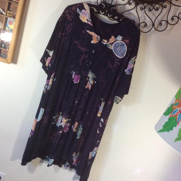 Vintage Dresses & Skirts - Tye Dye Pond Fish flowy Bohemian Dress
